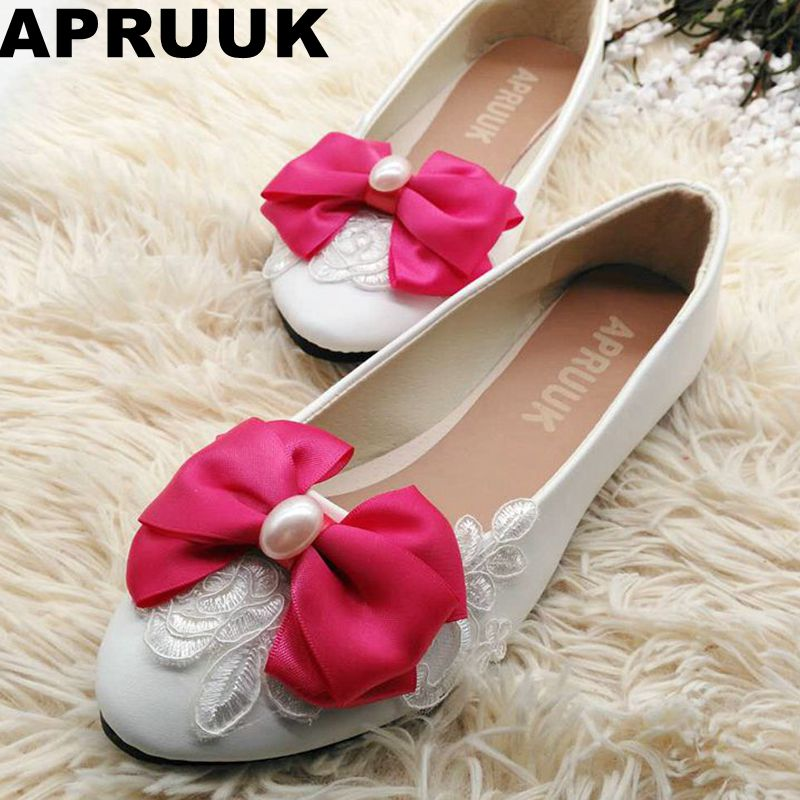Size 34-41 women shoes flats white laces big pink bow ballets flats casual shoes round toes women wedding princess flats weowalk 5 colors chinese dragon embroidery women s old beijing shoes ladies casual cotton driving ballets flats big size 34 41