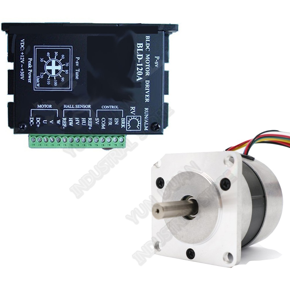 100W Brushless Motor Driver Kits 24VDC BLDC NEMA23 57MM 0.33Nm Hall Sensor Drive 8A Adjustable Speed 3000RPM PWM 3PH 8mm Shaft