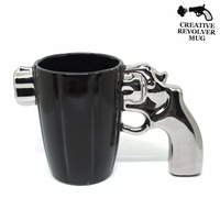 380ml Creative Revolver Ceramic Mug Home Office Plating Drinks Coffee Mug free shipping