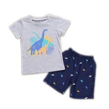 Boy Summer Pajamas Cute Children Gray Cartoon Dinosaur Clothes