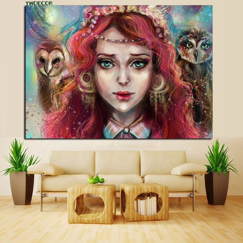YWDECOR HD Print Red Hair Blue Eyes Anime Gallery Fantasy Girls Oil Painting on Canvas Poster Picture Wall Art for Living Room