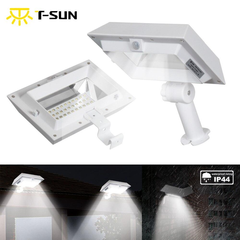 T-SUNRISE Motion Sensor Solar Gutter lights Solar Powered Outdoor Lighting Garden Solar Sensor Wall Light for Street Yard