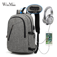 Winmax Men's Backpack Anti Theft Shoulder Bag Password Locks for Male USB Charging Travel Backpack & Headphone Plug Business