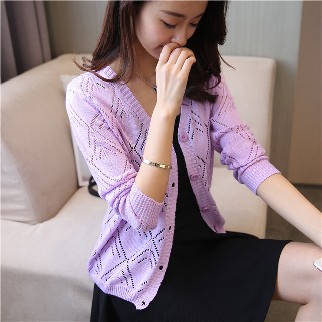 18 new women's Korean long sleeved knit cardigan collar hollow V simple air conditioning shirt female coat F1844 1