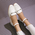 2016 zapatos de cuero estudiante zapatos gruesos con los zapatos salvajes zapatos de estilo Británico de las mujeres mocasines de cuero genuino pisos