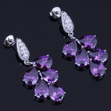Admirable Big Purple Cubic Zirconia White CZ 925 Sterling Silver Drop Dangle Earrings For Women V0336