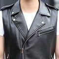 Men vests black leather jacket coat outerwear black man clothing leather vest red fashion