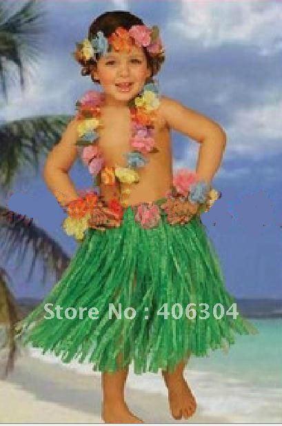 Free shipping children girl colorful 40cm Hawaii Hula belly dance skirt set hula skirt,anadem,headband,bracelet,many colors