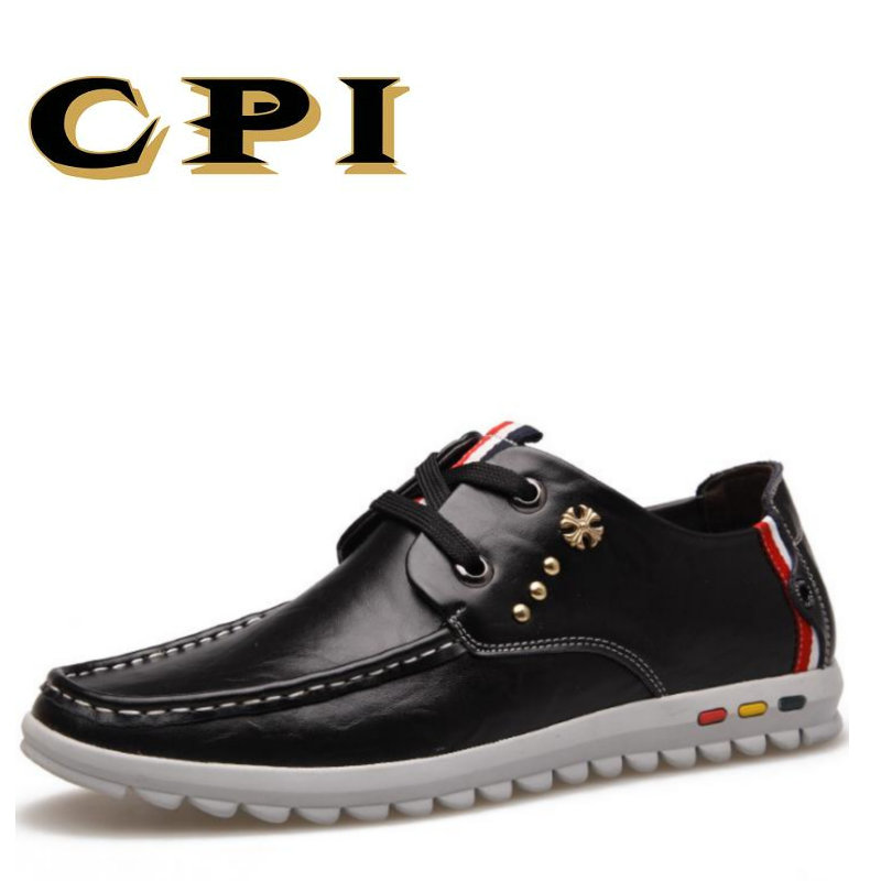 CPI 2017 New Arrival Fashion Leather Men Casual Shoes Lace Up Comfortable Breathable Hand sewn All-match Casual Shoes DD-36