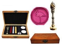 Vintage Cute Flamingo Custom Luxury Wax Seal Sealing Stamp Brass Peacock Metal Handle Sticks Melting Spoon
