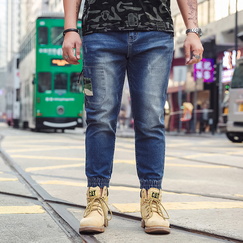 Big size Jeans men loose large size Japanese feet harem pants 2019 spring autumn new trend men's stretch long pants