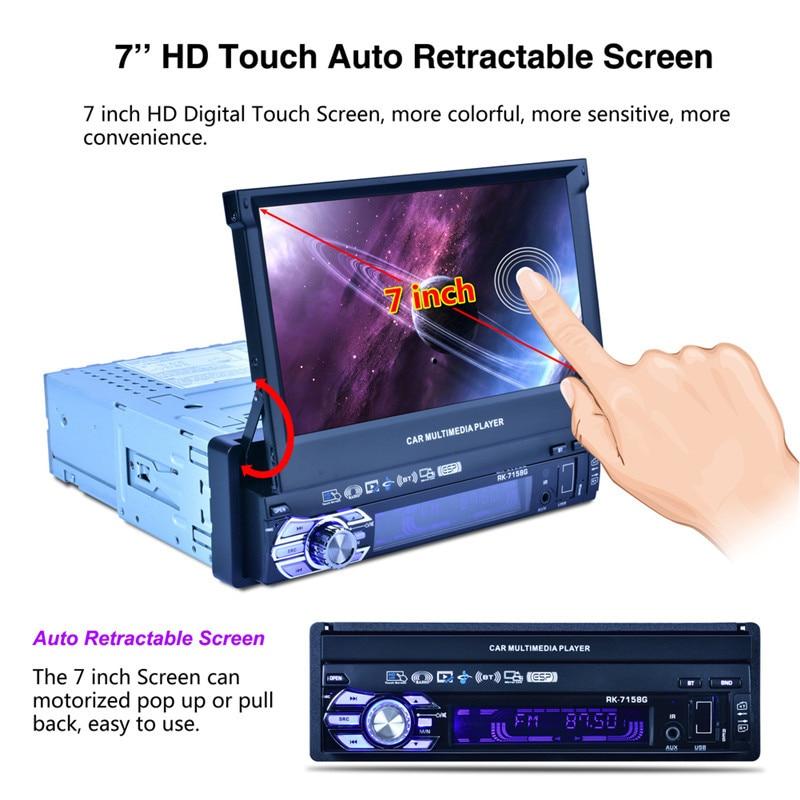 Lecteur multimédia multimédia Radio de voiture RK-7158G écran rétractable monté sur véhicule MP5/MP4/MP3 caméra de recul de Navigation GPS
