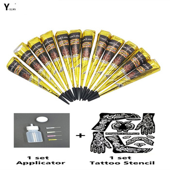Y-XLWN 12pcs 25g Dark Red Mehndi Henna Cones Indian Natural Tattoo Paste Temporary Tattoos Hand Body Art Paint Pigment