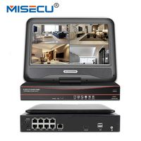 MISECU All in One Security Video Recorder 48V Active PoE 8CH CCTV PoE NVR 1080P With 10.1'' LCD Screen Monitor Motion Detect