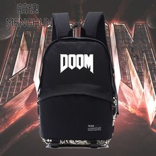 Retro game DOOM concept black nylon backpacks game fans gift backpacks DOOM backpack NB075