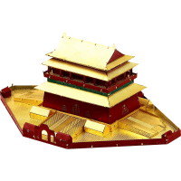 Microworld 3D Metal Puzzle Beijing Bell And Drum Towers Model J032 DIY 3D Laser Cutting Jigsaw