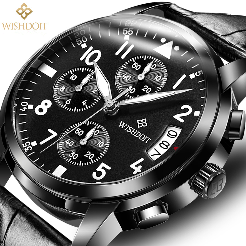 Relogio masculino Mens Watches WISHDOIT Brand Luxury Fashion Business Quartz Watch Men Sport Full Steel Waterproof Black Clock new fashion mens watches gold full steel male wristwatches sport waterproof quartz watch men military hour man relogio masculino