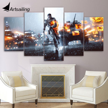 ArtSailing 5 panels HD Printed Game Battlefield Painting children's room decor print poster picture canvas Free shipping/ny-3080