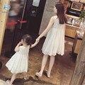 16 Новое Лето Мама и Дочь Платье Соответствие Матери и дочь Семьи Одежда Для Девочек и Мама Платье Без Рукавов Пляж Платье 20 #