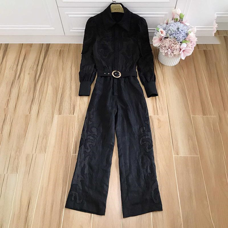 Runway Suit Women's Flare Sleeve Bow Collar embroidery Two Piece Set Top And Pants 2 Piece Set Women Blouses Casual Pants (1)
