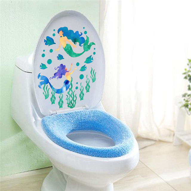 Underwater Mermaid Fish Wall Stickers Decals Art Bathroom Window Refrigerator Toilet Decoration Poster