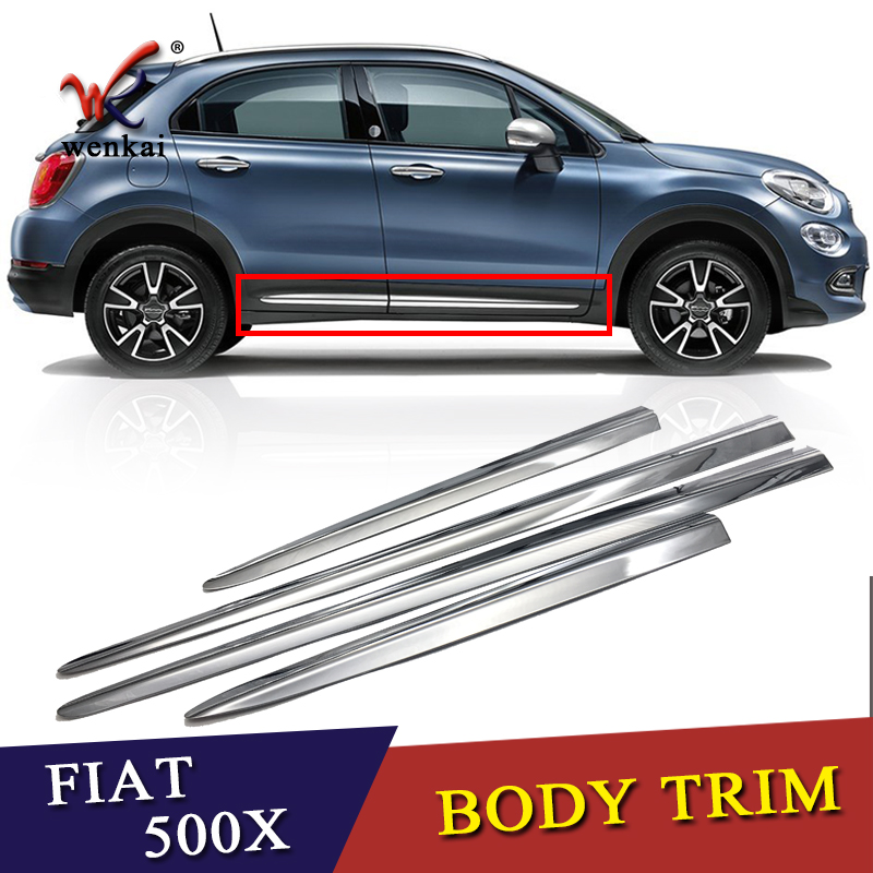 WENKAI ABS Chrome Door Body Molding Fit For Fiat 500X 2015 2016 2017 2018 Accessories Side