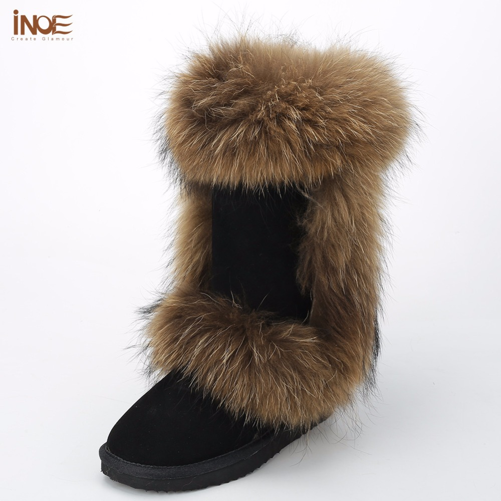 INOE real fox fur sheepskin leather fur lined women suede winter snow boots for woman winter shoes black brown non-slip sole inoe fashion fox fur real sheepskin leather long wool lined thigh suede women winter snow boots high quality botas shoes black