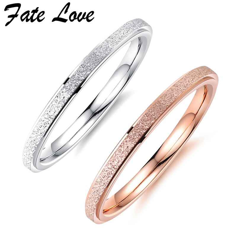Fate Love Wedding Rings For Women Fashion Jewelry Silver Rose Gold Color Stainless Steel Thin Ring Gift Engagement Rings Anillos