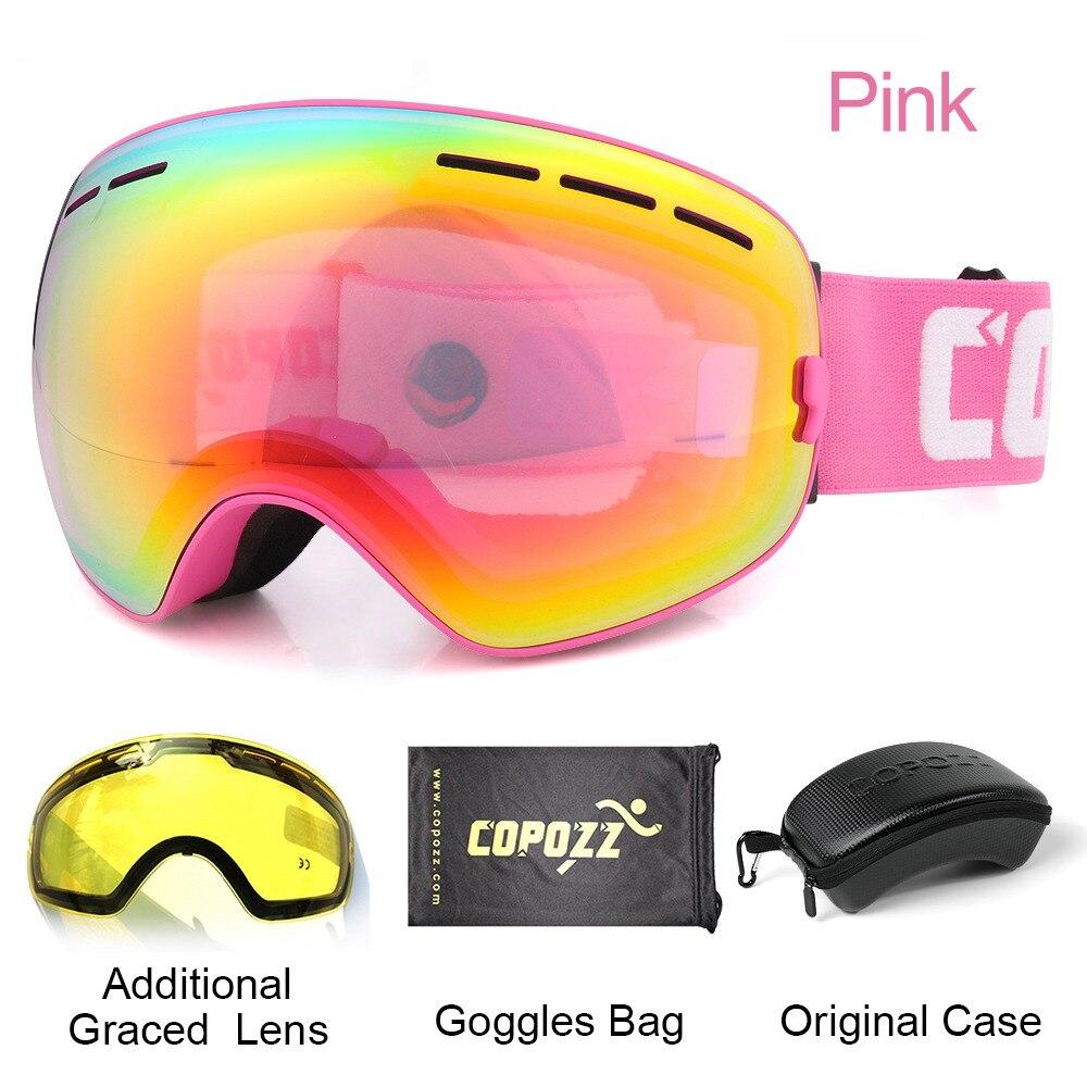 COPOZZ marque ski lunettes 2 couche lentille anti-brouillard UV400 jour et nuit sphérique lunettes de snowboard hommes femmes ski neige lunettes Set - 2