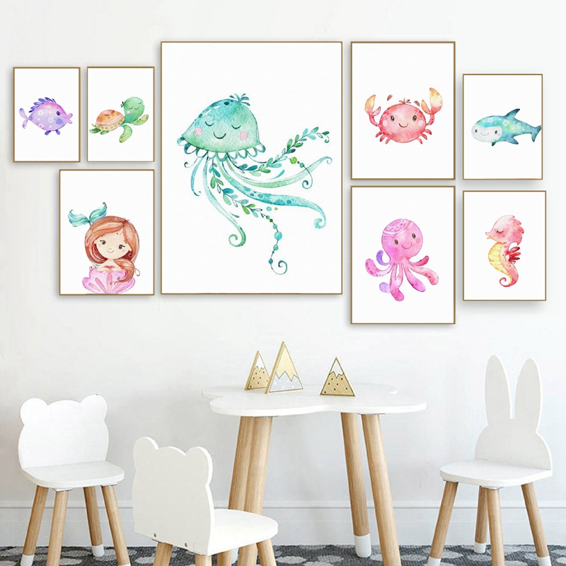 Nursery Ocean Prints Mermaids and Sea Animals Poster Nursery Wall Art Decor Turtle Canvas Painting Little Girls Room Decoration(China)