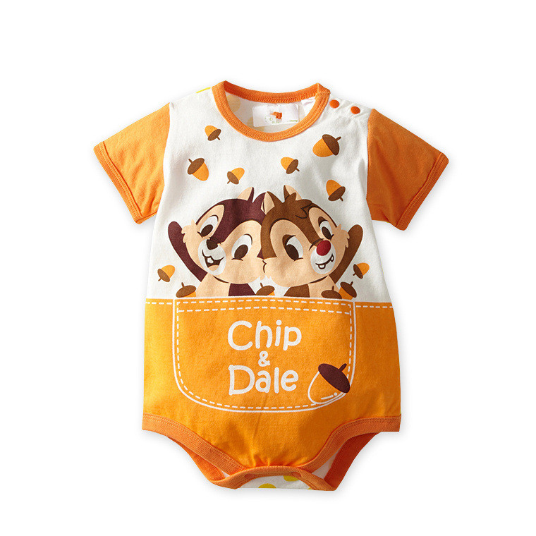 Free shipping 1pc baby summer rompers Girls boys SOft cotton infant newborn baby clothing Lovely Cartoon Chip Dale jumpsuits baby boys rompers infant jumpsuits mickey baby clothes summer short sleeve cotton kids overalls newborn baby girls clothing