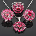 Pretty Flower Red Cubic Zircon 925 Sterling Silver Jewelry Sets For Women Earrings/Pendant/Necklace/Rings Free Shipping  JS086