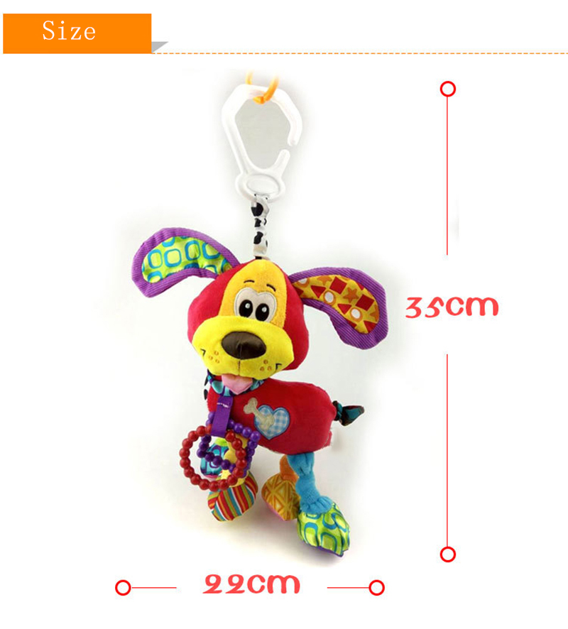35*22CM Musical Cute Rattles Bed Crib Stroller Kids Stuffed Doll Vibrator Dog Hand Bell Shake RingToy With Teether D012 14