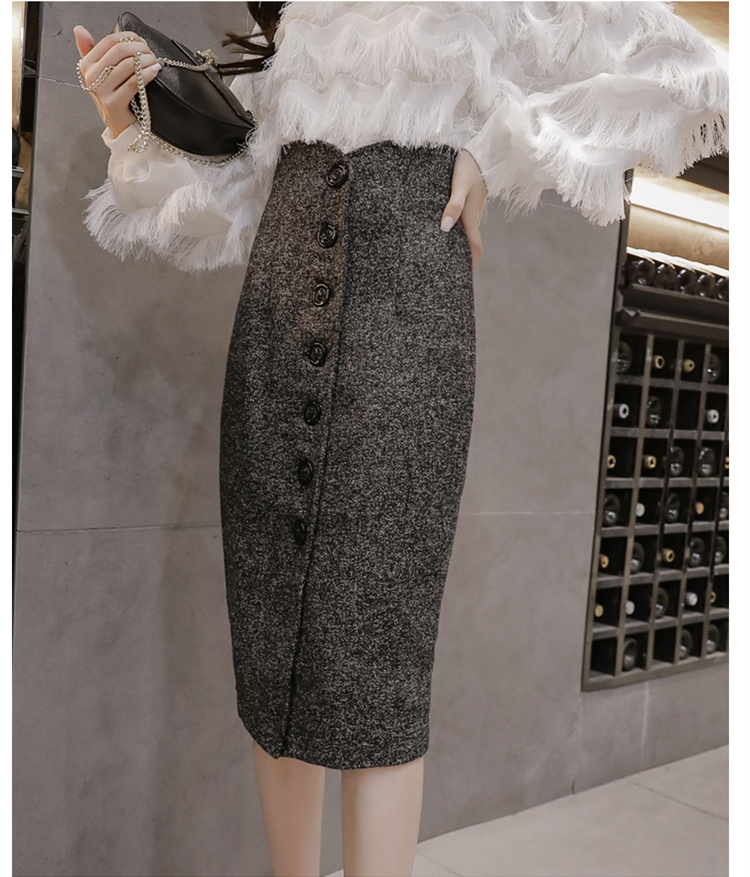 Neophil High Waist Woolen Button Pencil Midi Skirts Office Ladies Office Elegant Grey 19 Winter Wool Wrap Skirts Faldas S1738 10