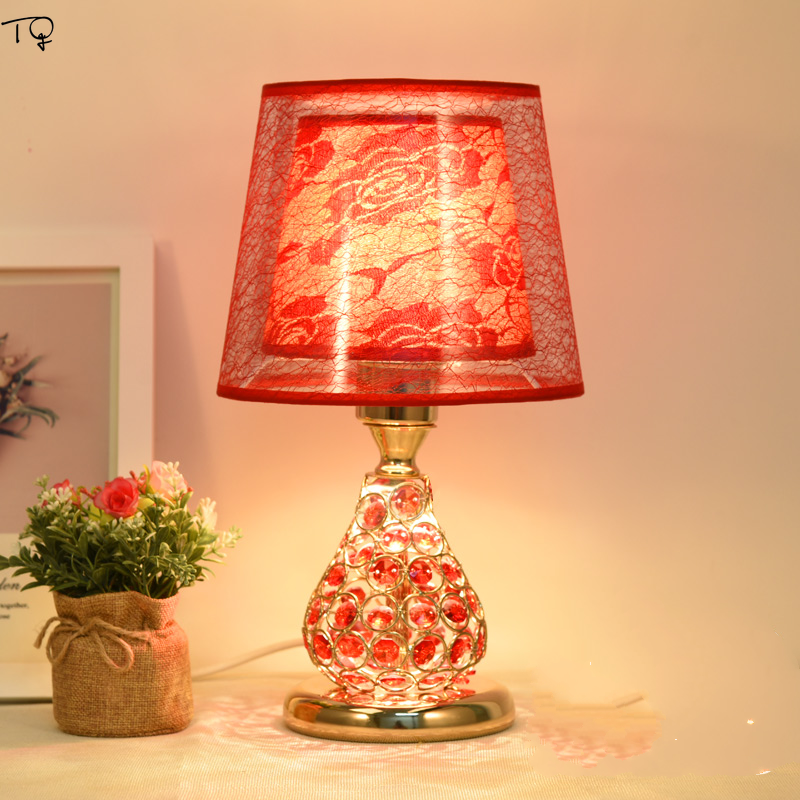 Nordic Ins Remote Control China Red Crystal Table Lamp Gold Led Simple  Modern Decor Wedding Bedside Bedroom Living Room dining