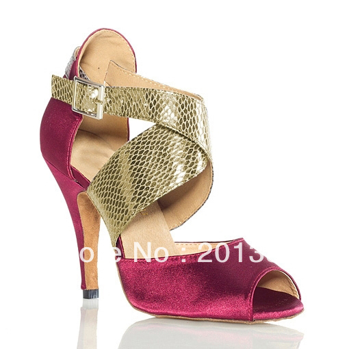 ФОТО Wholesale Ladies Red Satin Snakeskin Print Straps Ballroom Dancing Shoes Latin SALSA Shoes for women Tango Shoes