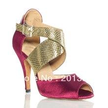 Wholesale Ladies Red Satin Snakeskin Print Straps Ballroom Dancing Shoes Latin SALSA Shoes for women Tango Shoes