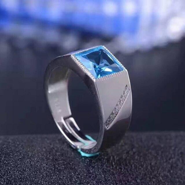 100% натуральный голубой топаз кольцо человек классические серебряные кольца драгоценный камень 8 мм * 8 мм камень топаз твердые 925 серебряный обычный мужской кольцо