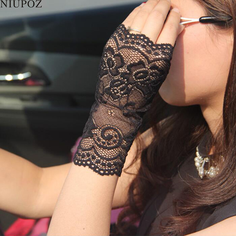 Fashion Sexy Summer Female Half Finger Sunscreen Short Lace Gloves Women Driving Rose Flower Pattern Fingerless Sun Gloves G171
