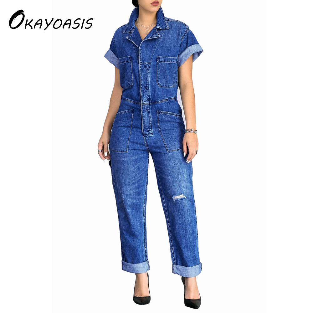 OKAYOASIS Free Shipping Women Leisure Loose Denim Jumpsuits Overalls Pants Full-length Jeans Fashion Rompers With Pocket