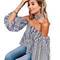 Rayado ocasional Impreso Halter de la Raya Vertical de Cuello Camisa de La Blusa Mujeres Sexy Off Shoulder Top Plus Tamaño de Manga Larga Blusas Blusas de Moda