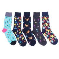 5 Pairs Lot Fashion Cotton Mens Socks Black Pattern Cool Colorful Socks Brand High Quality Wedding
