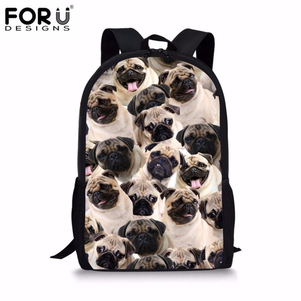 FORUDESIGNS 3D Pug Husky Kids School Bags Student Shoulder Backpack Waterproof Children Book Schoolbag Daypack Mochila Escolar