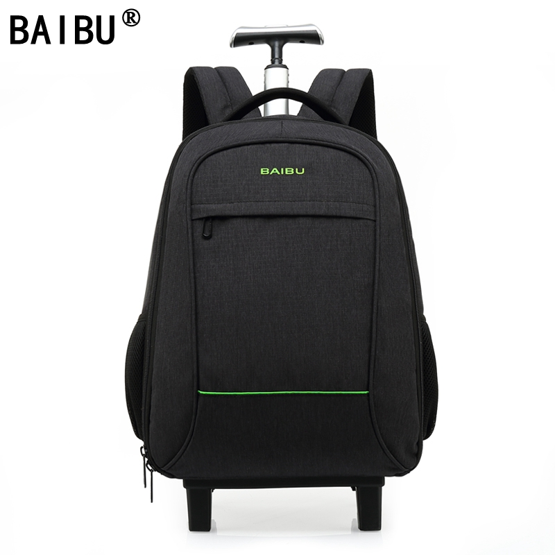 BAIBU High Quality Waterproof Travel Trolley Backpack Luggage Bags Wheeled Carry-ons Bags Large Capacity Trolley Bags for Laptop safrotto high quality photographic outdoor travel waterproof large trolley case bag casual shockproof photo backpack