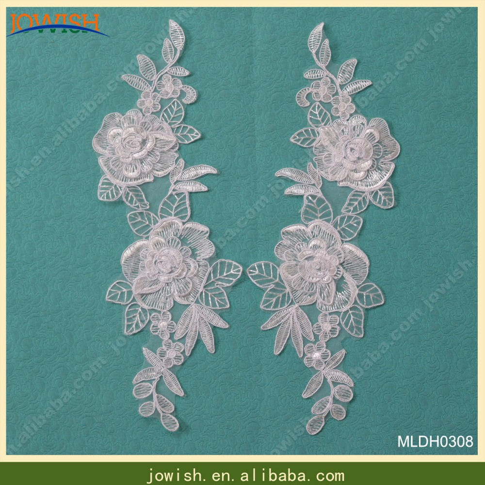 Off white flower floral lace applique sewing wedding fabric ...