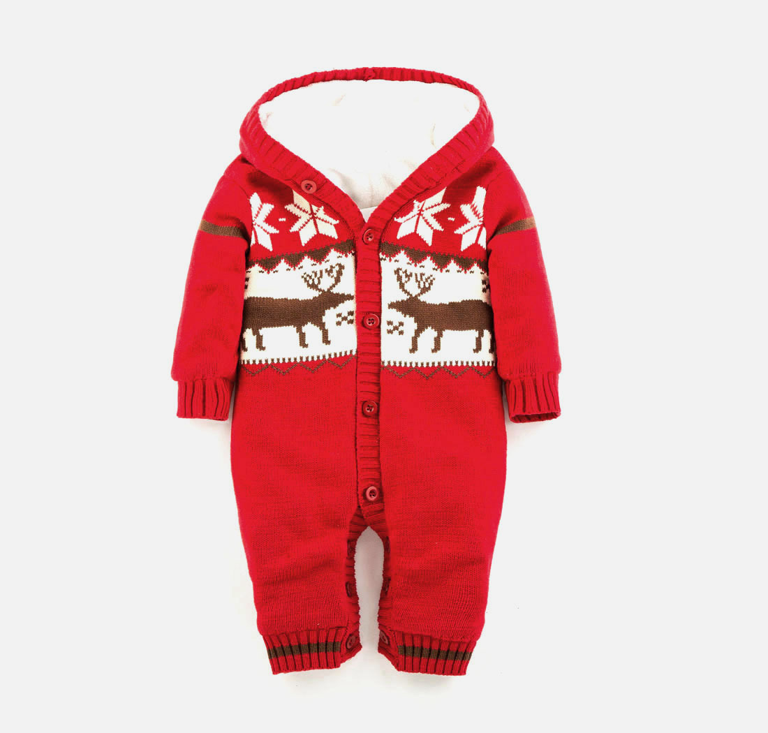 2017 New Baby Romper Winter Thick Climbing Clothes Newborn Boys Girls Warm Romper Knitted Sweater Christmas Deer Hooded Outwear 2017 baby jumpsuits winter overalls deer kinitted rompers climbing clothes sets for newborn boys girls costumes hooded sweater
