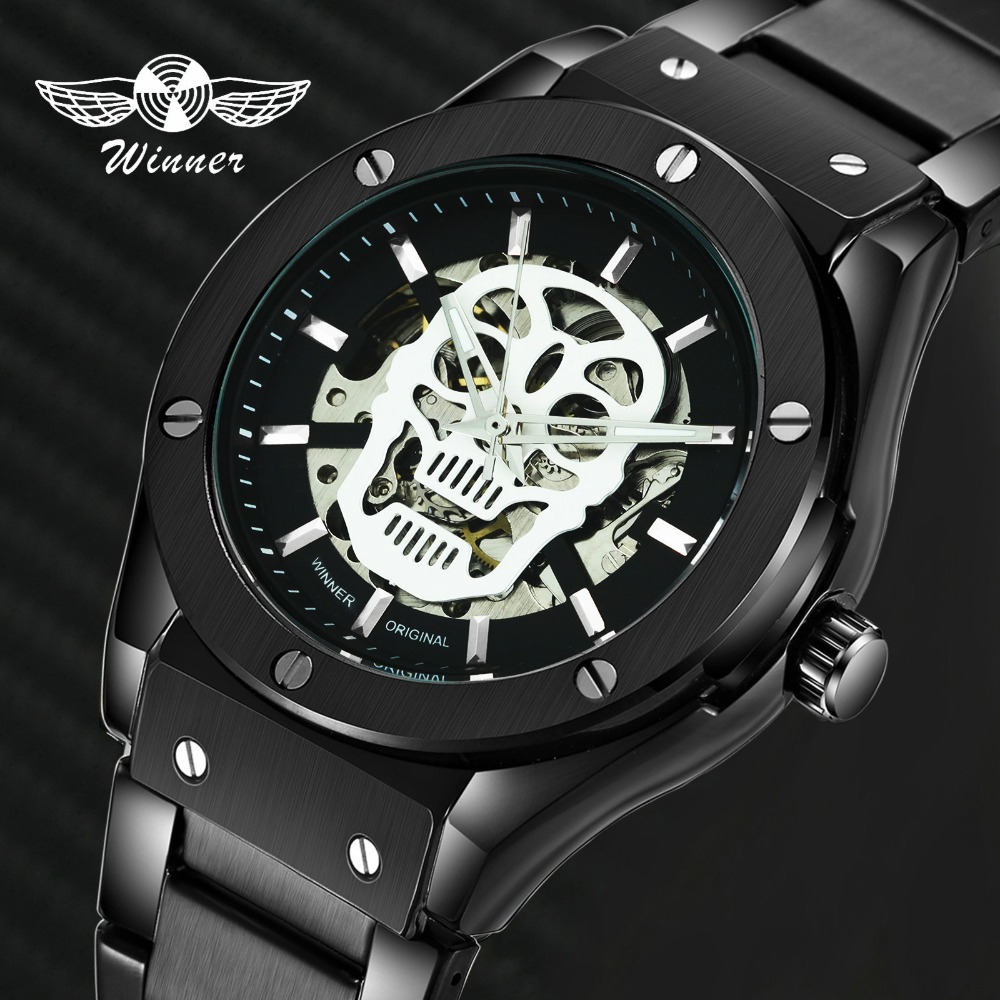 WINNER 2019 Top Brand Luxury Fashion Sport Automatic Mechanical Watch Men Stainless Steel Strap Steampunk Skull Wristwatch Hot WINNER 2019 Top Brand Luxury Fashion Sport Automatic Mechanical Watch Men Stainless Steel Strap Steampunk Skull Wristwatch Hot