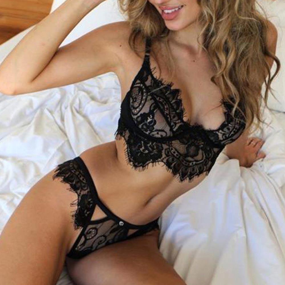 Women Sexy See Through Lace Underwear Lingerie Vest Top G-string Bra Pants Set