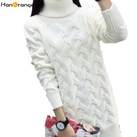 HanOrange Autumn Winter Korean Turtleneck Thick Loose Twist Long Women Sweater White/Red/Black