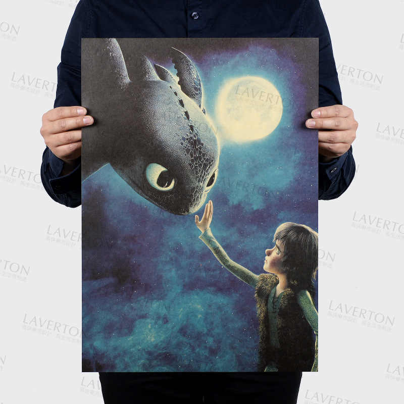 How to Train Your Dragon/classic movie film/kraft paper/Cafe/bar poster/Retro Poster/decorative painting 51x35.5cm